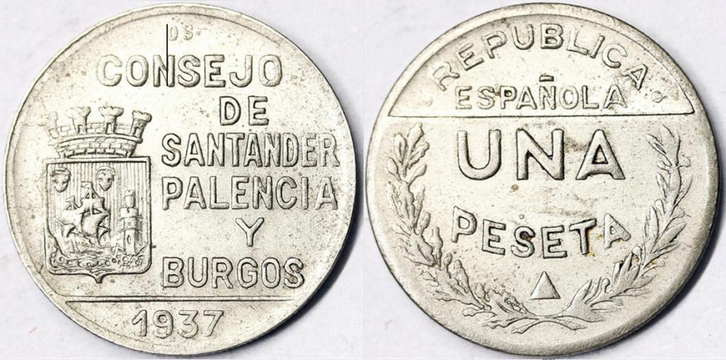 1 Peseta 1937. Consejo Santander Palencia y Burgos. PRUEBA I10