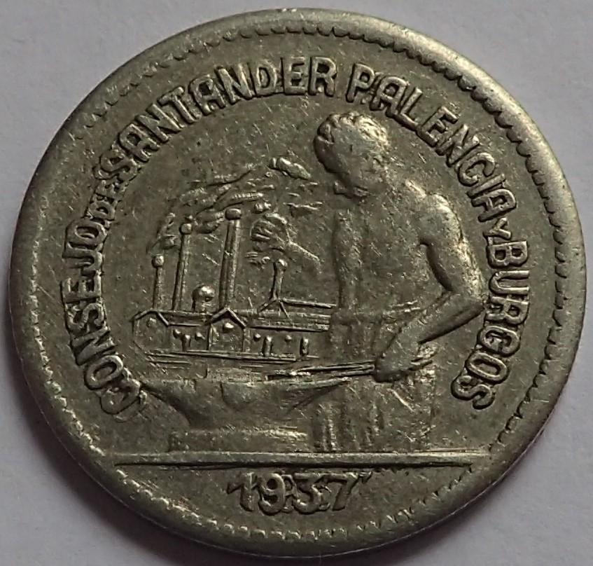 50 céntimos 1937. Consejo Santander, Palencia y Burgos.  J13