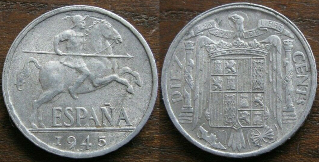 10 CENTIMOS 1945. Estado Español.  Jj12