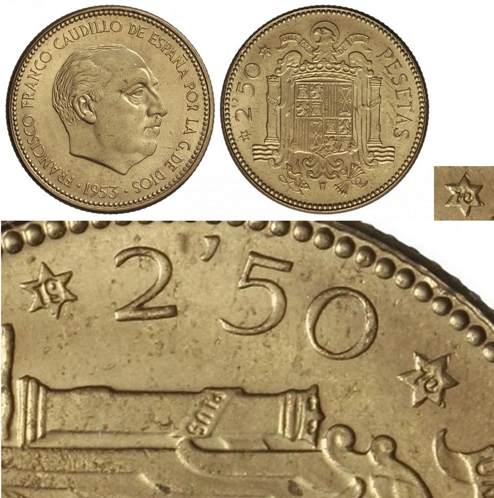 2,50 pesetas 1953 (*19*70). Estado Español - Página 5 Mn10