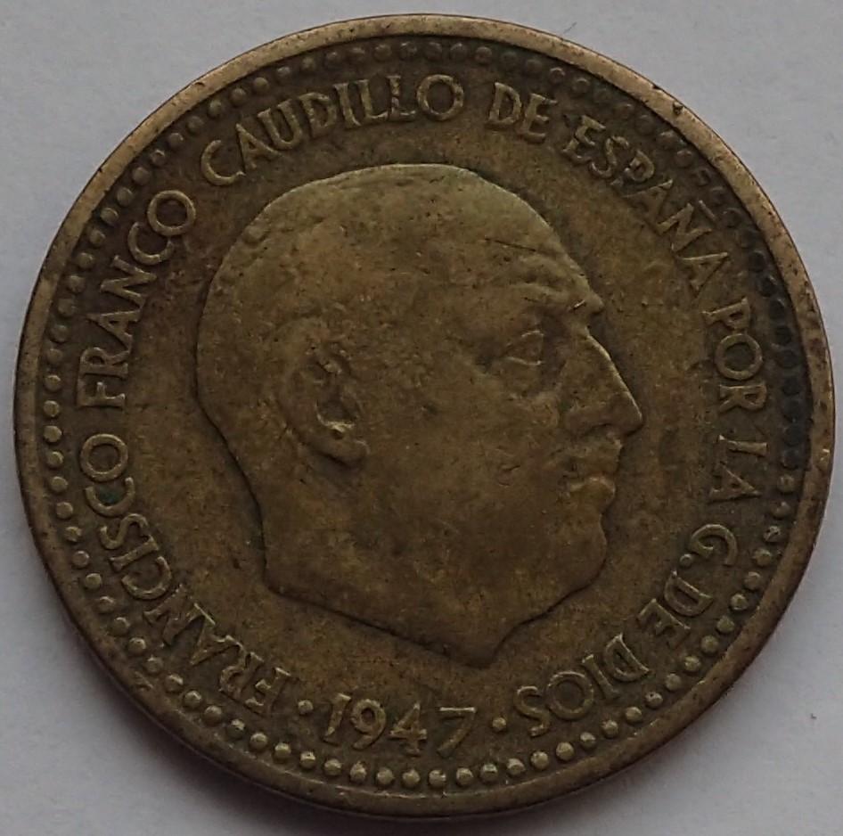 1 Peseta 1947*19-48. Estado Español. EL REVERSO. P1150010