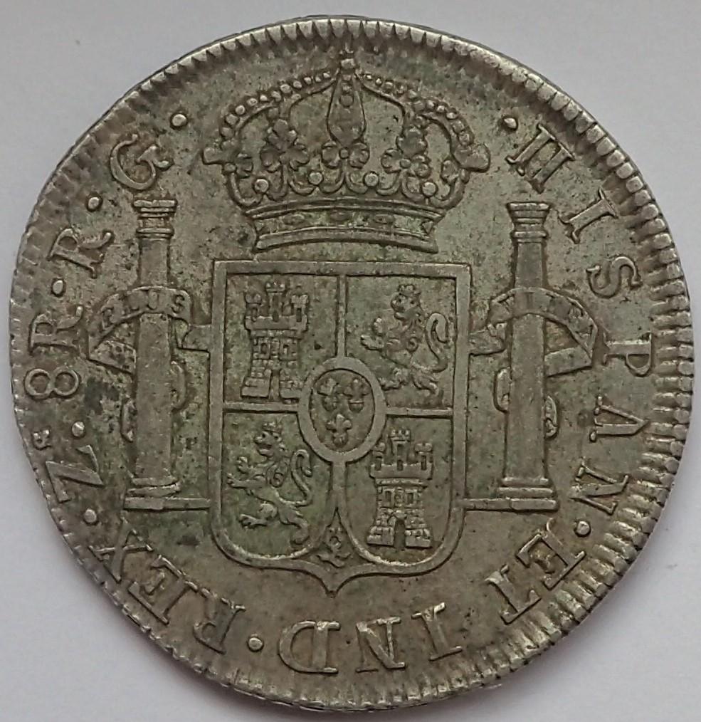 8 Reales Fernando VII. 1821. Zacatecas. RG P9140013