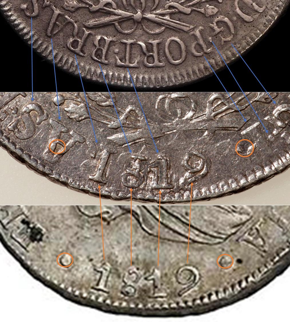960 reis Juan VI. Brasil. 1820. Acuñados sobre 8 reales Fernando VII. Lima. 1819. S12