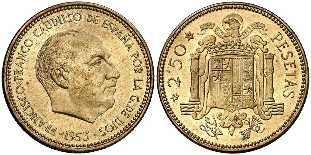 2,50 pesetas 1953 (*19*70). Estado Español U10