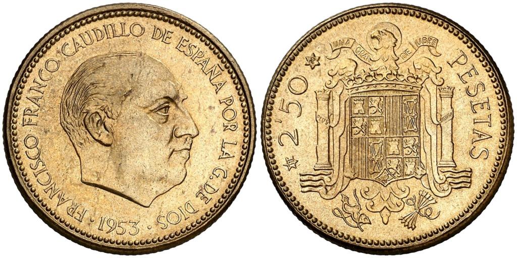 2,50 pesetas 1953 (*19*70). Estado Español Uu10