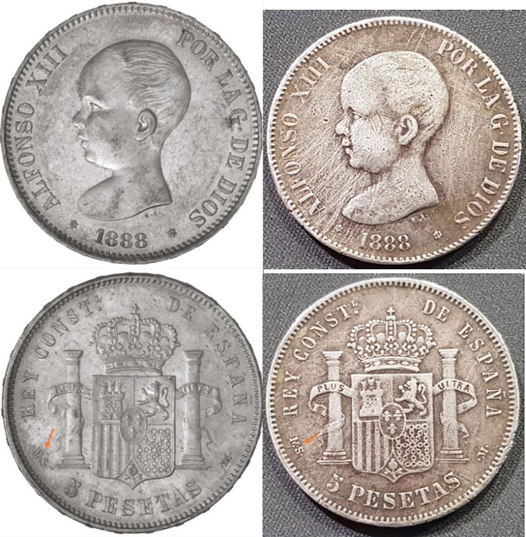 5 Pesetas 1888 MSM Y11