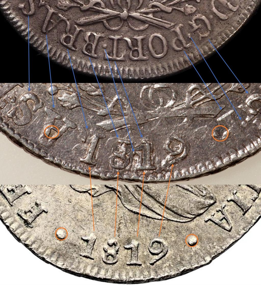960 reis Juan VI. Brasil. 1820. Acuñados sobre 8 reales Fernando VII. Lima. 1819. Yy10