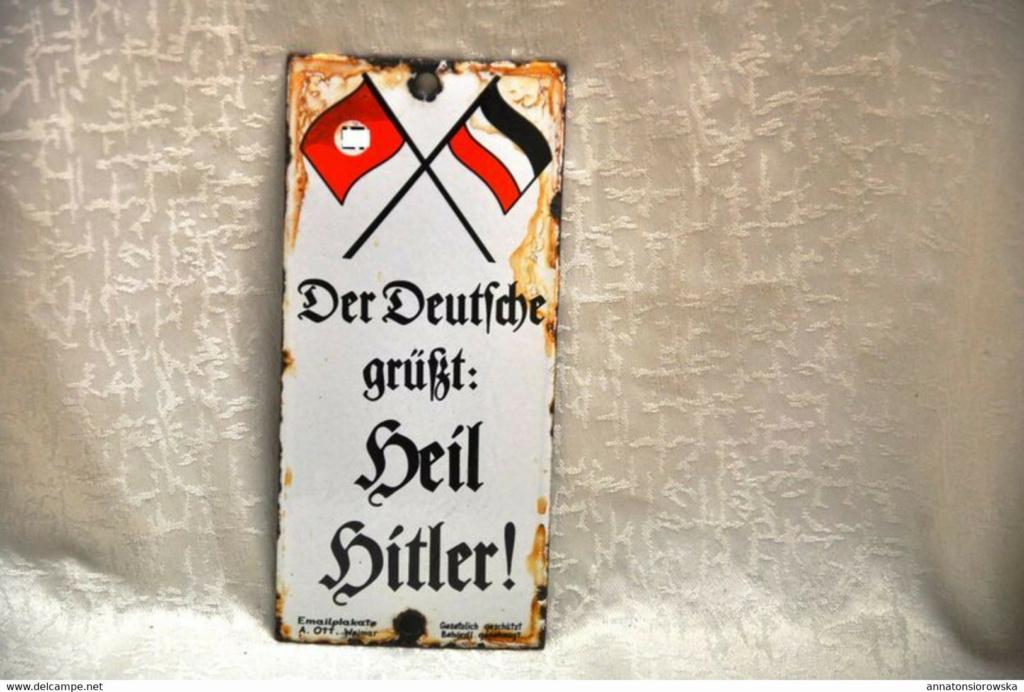 Plaque de porte émaillée, Heil Hither 914_0010