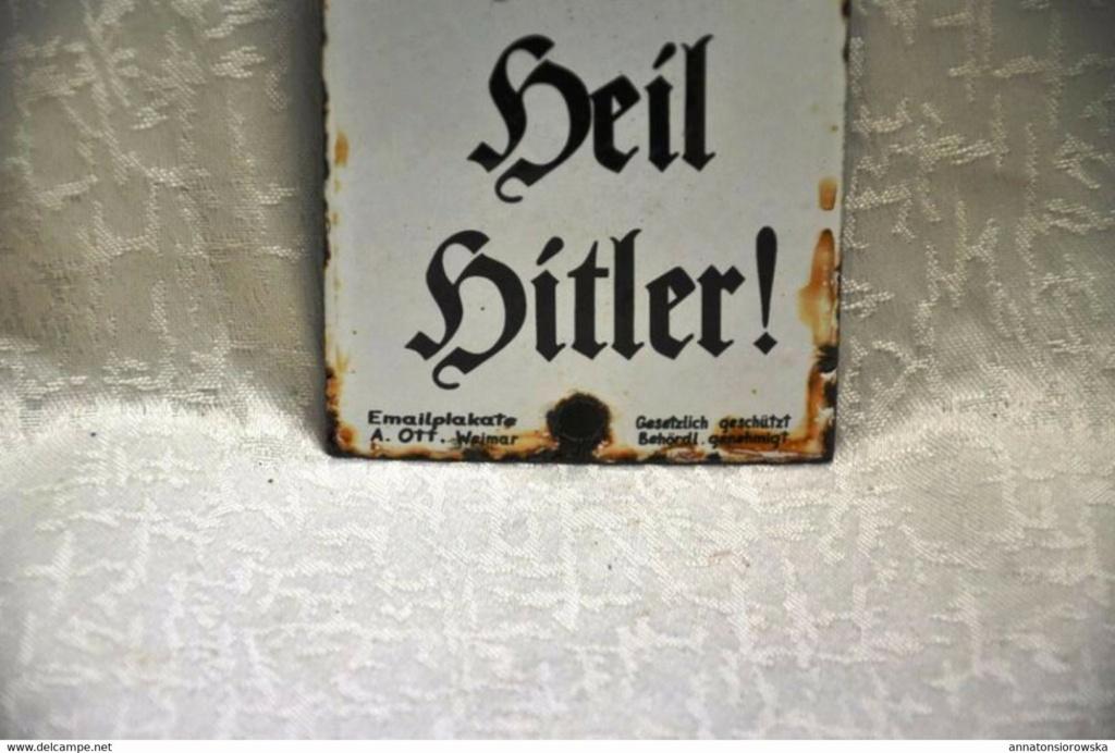 Plaque de porte émaillée, Heil Hither 914_0011