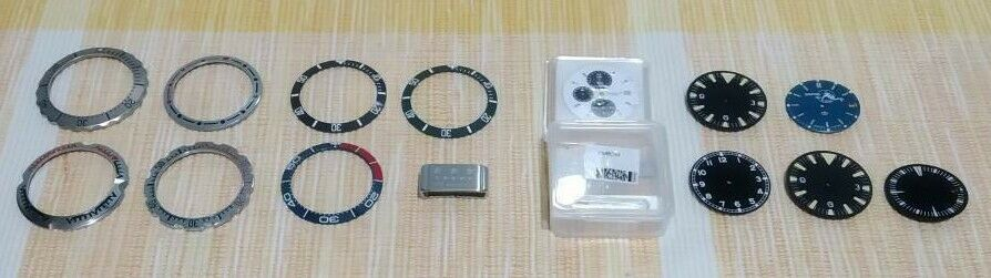 [Aceito ofertas pelo lote] Mostrador, bezels, inserts em cerâmica, caixas Lorus, etc. S-l16010
