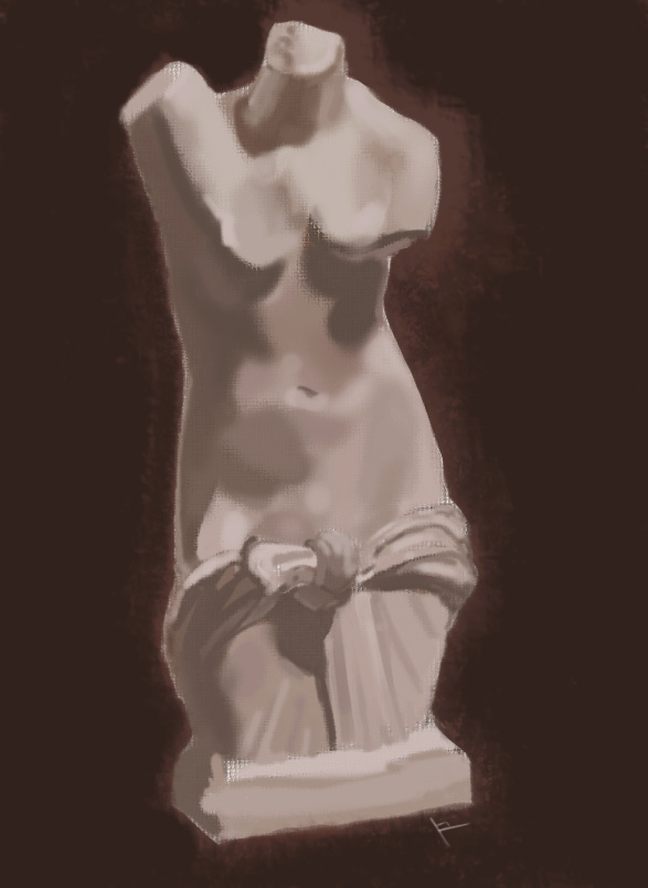 etude de buste  et digital painting Peintu15