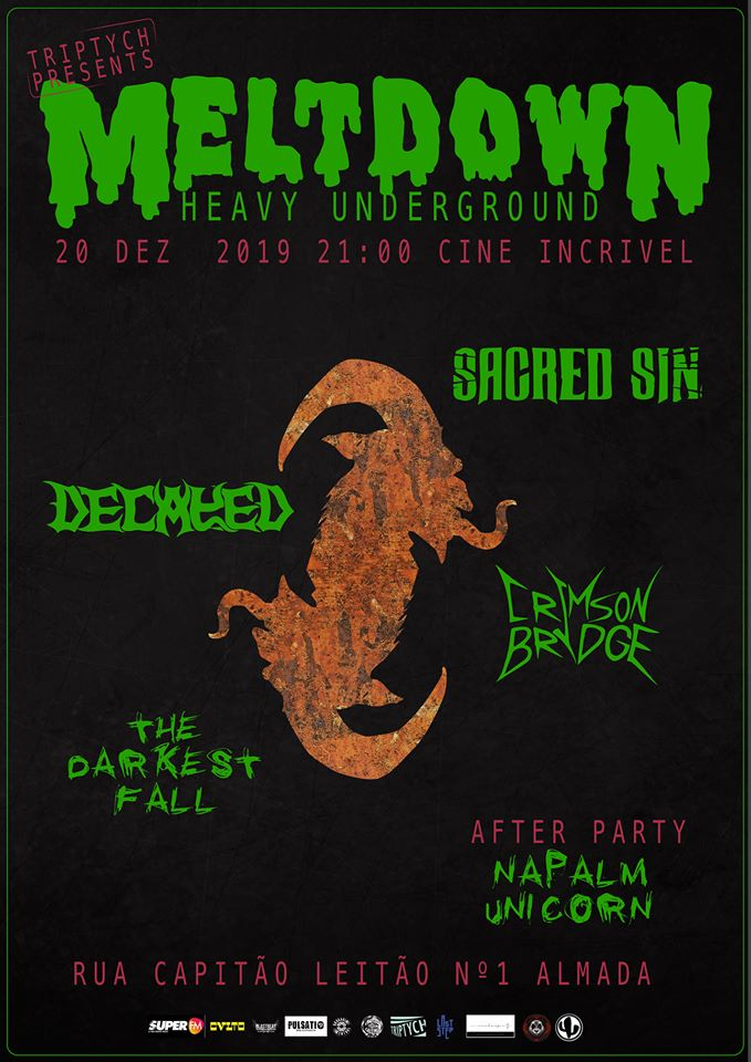 MELTDOWN - Sacred Sin + Decayed + Crimson Bridge + The Darkest Fall - Cine Incrivel Almada 76751510