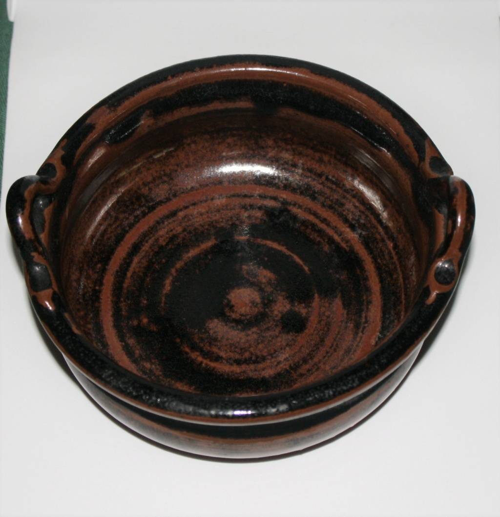 Unusual 2 handled tenmoku glazed bowl cannot find the potter, SP mark Two_ha11