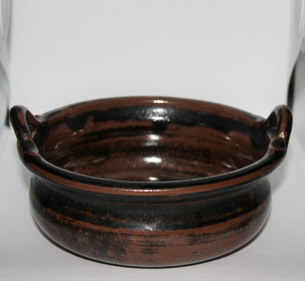 Unusual 2 handled tenmoku glazed bowl cannot find the potter, SP mark Two_ha12