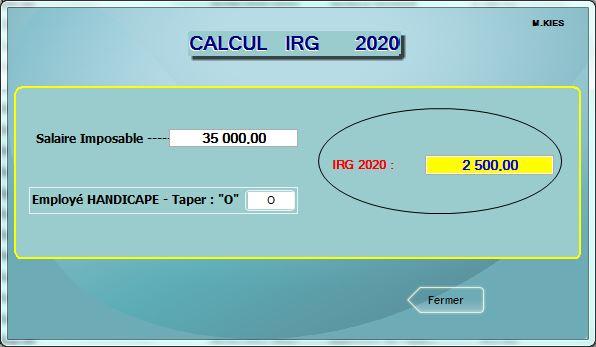 تحديث حساب الضريبة على الدخل  2020 في برنامج IRG  Irg20210