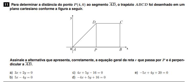 Unicentro 2015 -> equação geral da reta  Unicen11