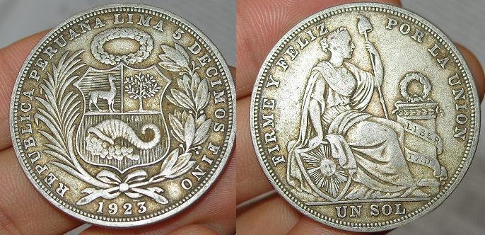 Perú, 1 sol, 1923 Sol10
