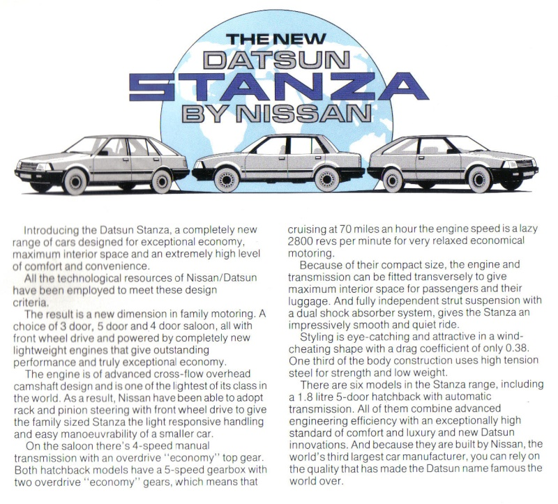 Datsun / NISSAN STANZA série des models T11 Stanza11