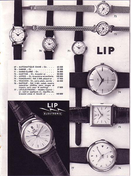 petit comparatif tarifs LIP/OMEGA en 1959 Lip10