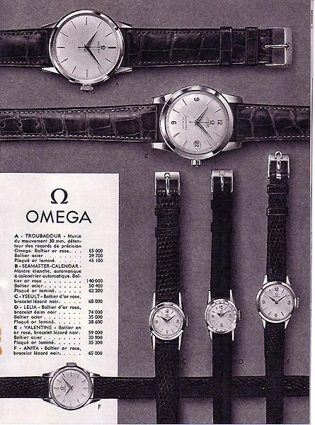 petit comparatif tarifs LIP/OMEGA en 1959 Omega10