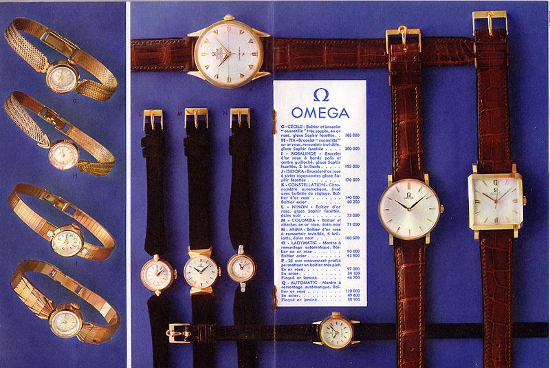 petit comparatif tarifs LIP/OMEGA en 1959 Omega210