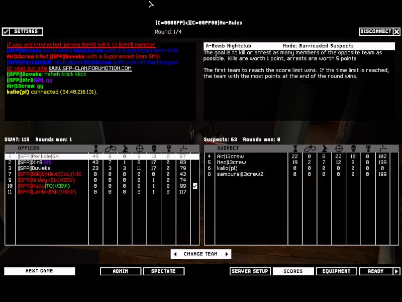 SFP vs 13Crew on 24-02-2008 Result: Won 2-0 Swat4-16