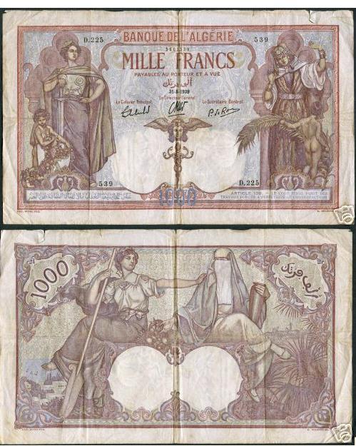Emissions d'Algérie en billet avant 1962 1000010
