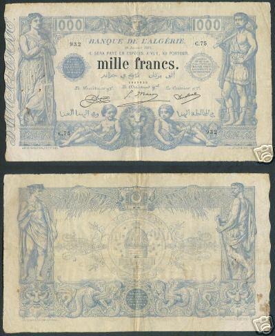 Emissions d'Algérie en billet avant 1962 100010