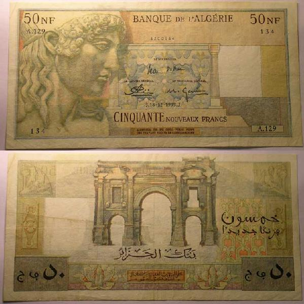 Emissions d'Algérie en billet avant 1962 50_nf10