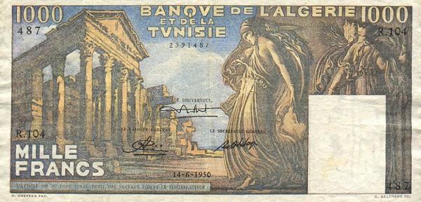 Emissions d'Algérie en billet avant 1962 Tunisi15