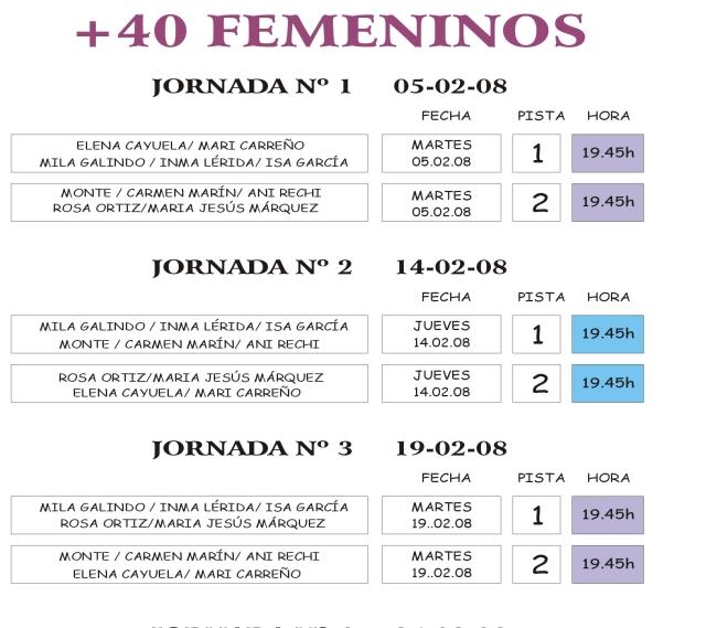 EMPIEZA LA LIGA+40. GRUPO FEMENINO. JORNADA,PISTA Y HORA Grupo_13
