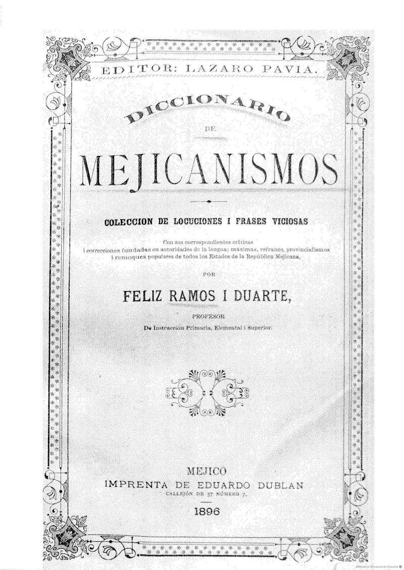 Diccionario de mejicanismos 1895. Portad12