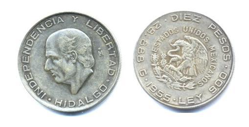 México, 10 pesos, 1955 Mej10