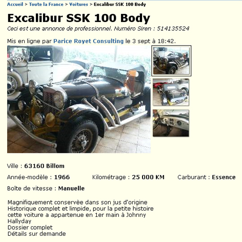 voiture johnny excalibur Excali11