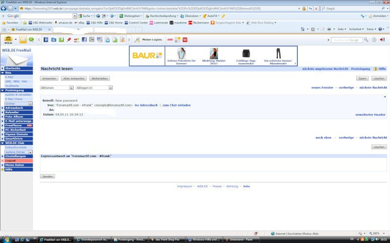 [Mitteilung] Freemail Adressen von WEB.de, Hotmail und anderen nicht nutzbar! Screen10