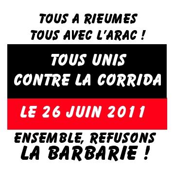 Manifestation Anti corrida, le 26 juin 2011 à Rieumes (31). Corrid12
