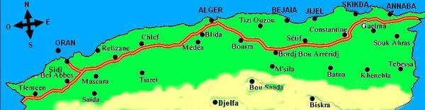 Carte Algerie Autoroute Est Ouest.Alger Oran Oran Alger