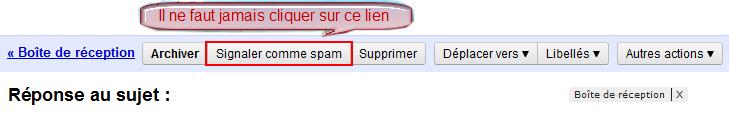 Problème de réception des notification par mail Spam10