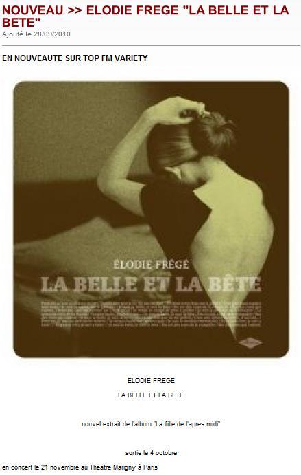 2ème single : La belle et la bête, diffusions en radios Elodie17