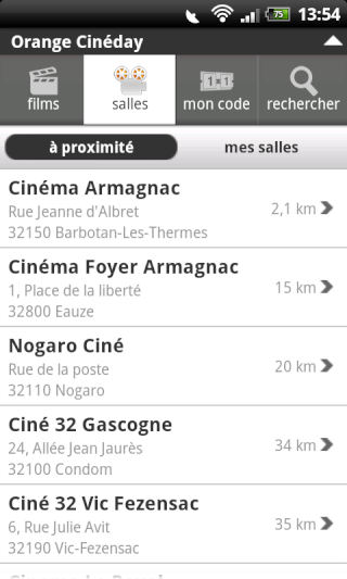 [SOFT] ORANGE CINEDAY : L'application Orange pour le cinéma [Gratuit] Snap2086