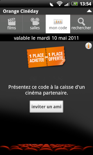 [SOFT] ORANGE CINEDAY : L'application Orange pour le cinéma [Gratuit] Snap2087