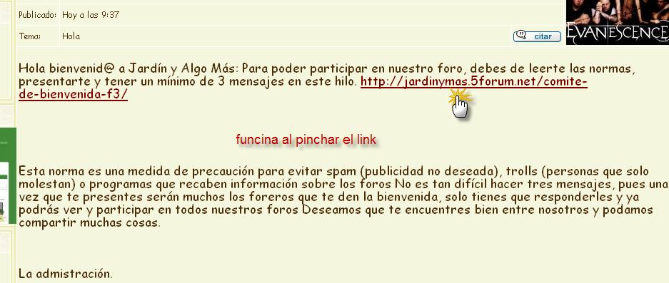 no reconoce el html en el mensaje de bienvenida Link210