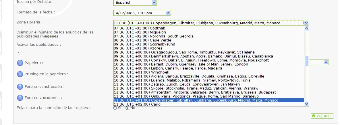 Los husos horarios Zona110
