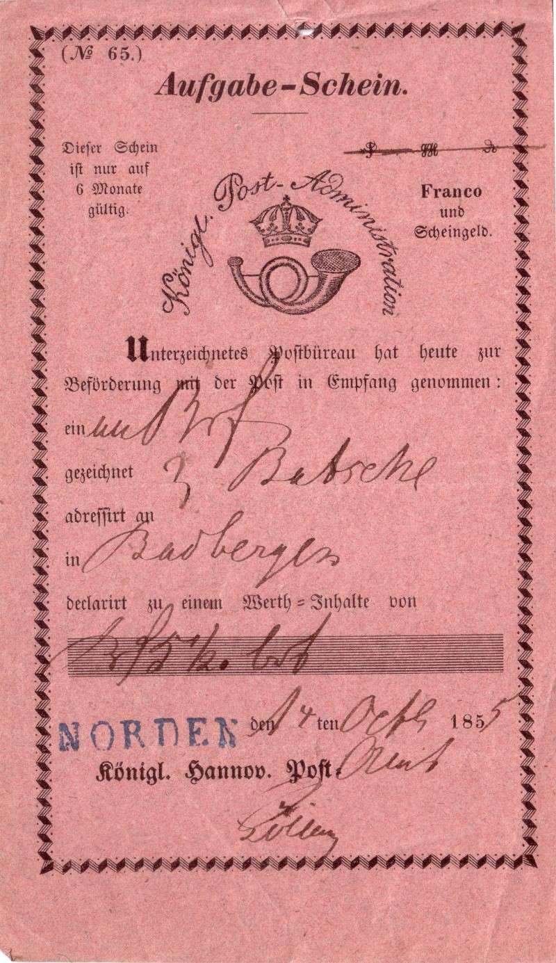 Aufgabeschein der Königl.-Hannov.Post von 1855 Postau10