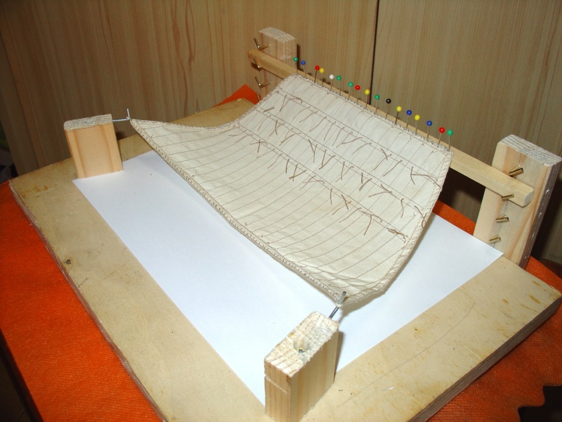 vele - Formatura vele per simulare l'azione del vento. Per vele latine e quadre Figura11