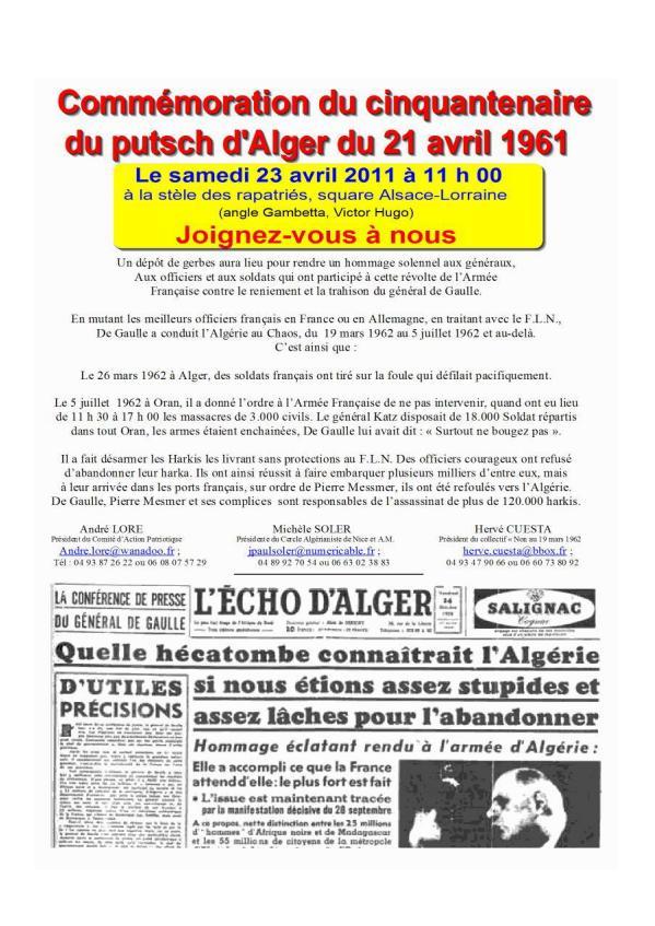 50 ans du Putsch d'Alger: ils veulent un hommage national... Putsch10