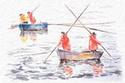 la pesca y los pescadores suministran peces,mariscos, cefalopodos y los pescan con artes de pesca formando cofradias