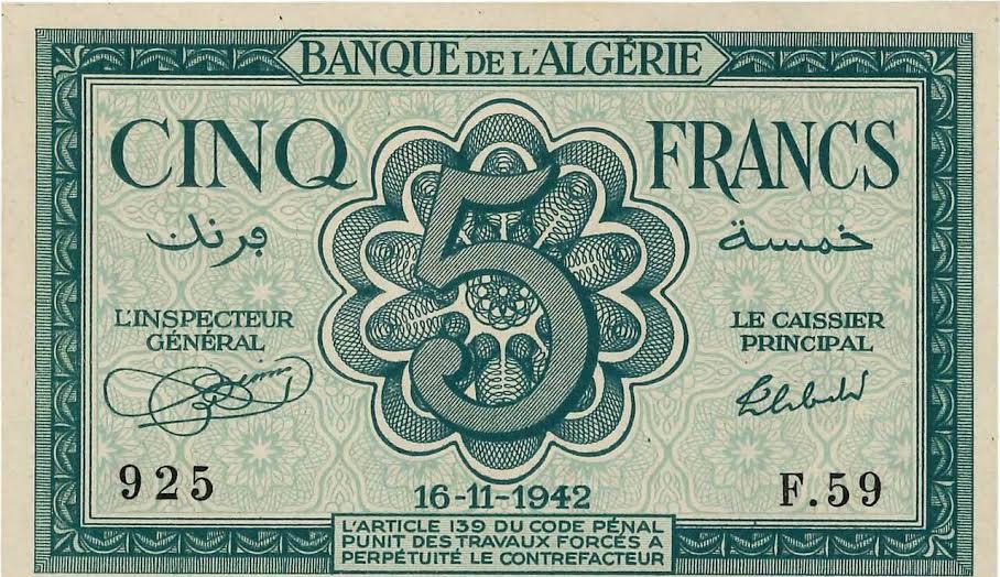 العملة الورقية الجزائرية في عهد الإستعمار الفرنسي 78-16111