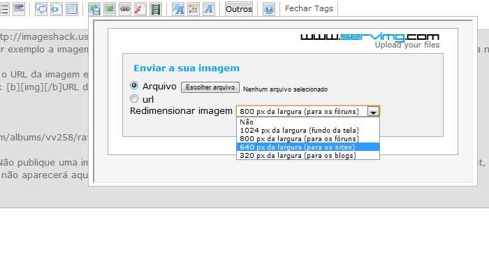 Como postar imagens e redimensioná-las Ajuda011
