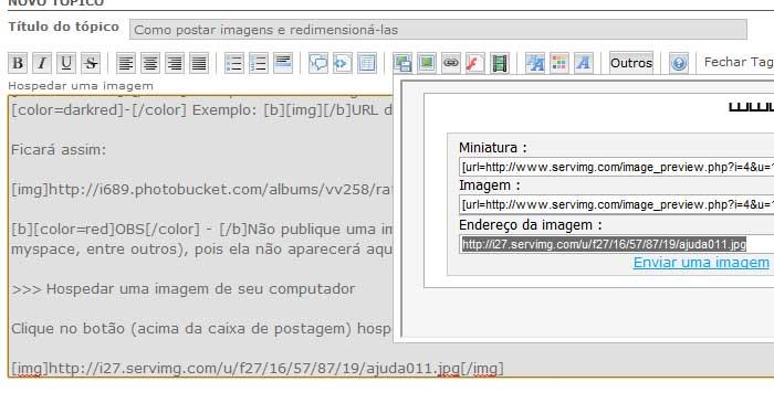 Como postar imagens e redimensioná-las Ajuda013